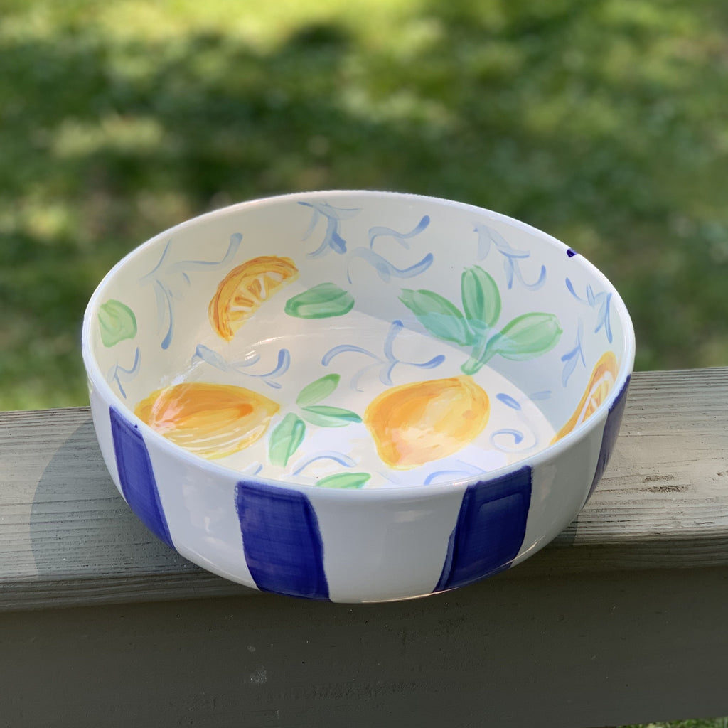 Lemon Lovers Blue White Striped Lemon Pattern Salad Bowl