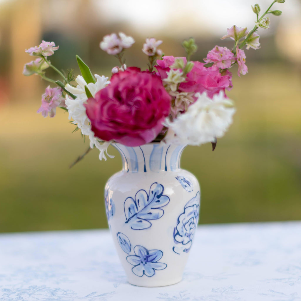 "6"" Floral Blue and White Ceramic Flower Vase"