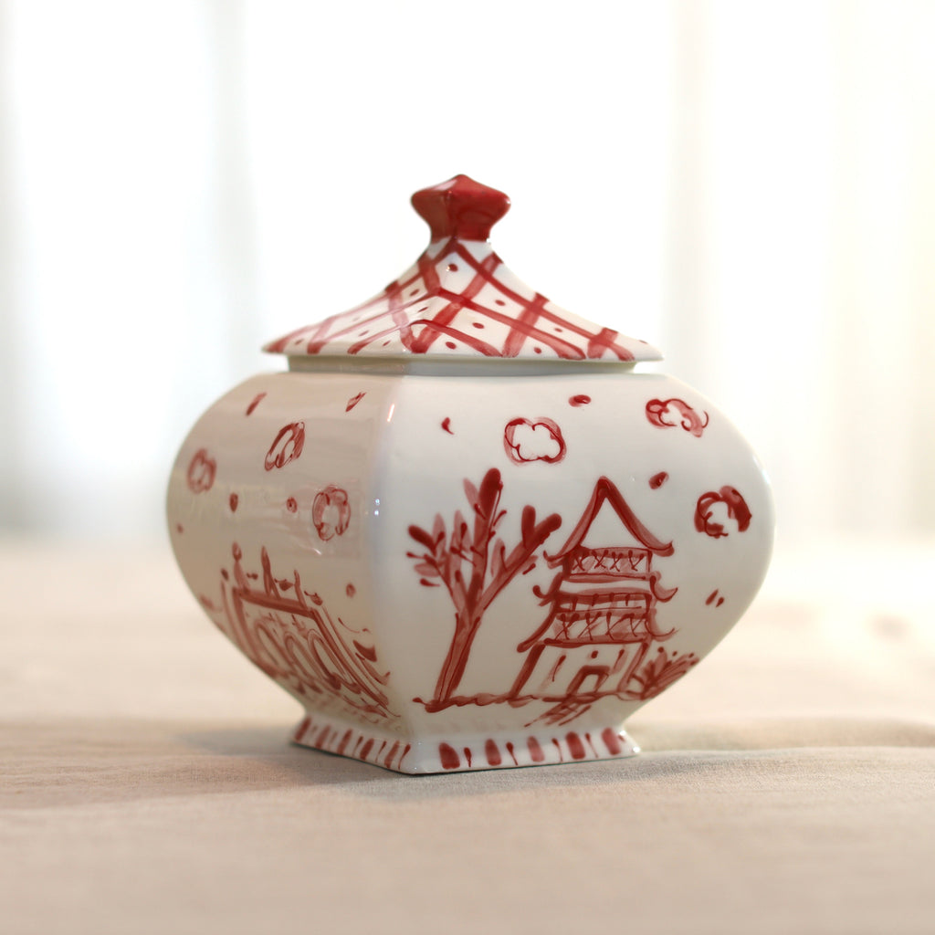 Molly Pagoda Ginger Jar - Available in Red or Blue