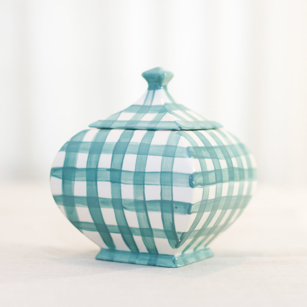 Molly Gingham Ginger Jar - Available in Blue or Spruce Gingham