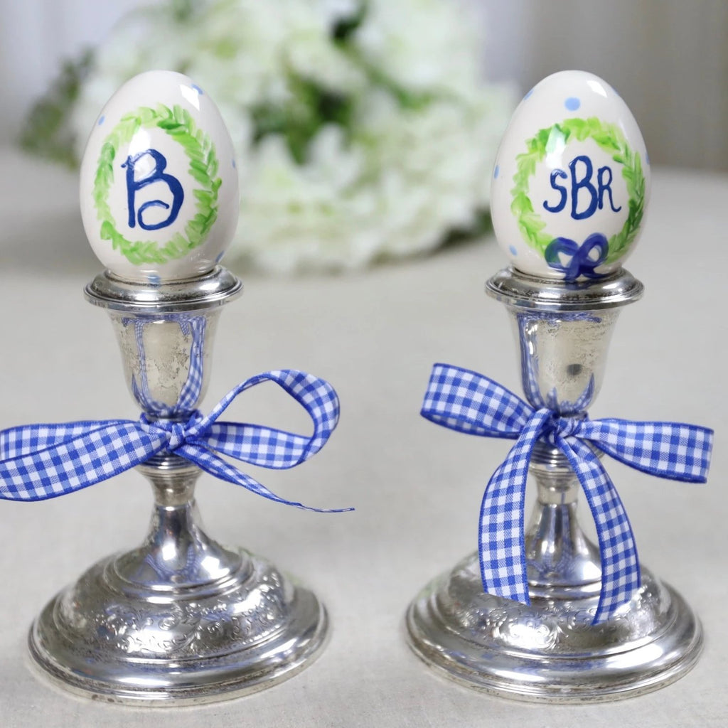 Custom Monogrammed Laurel Wreath Ceramic Eggs