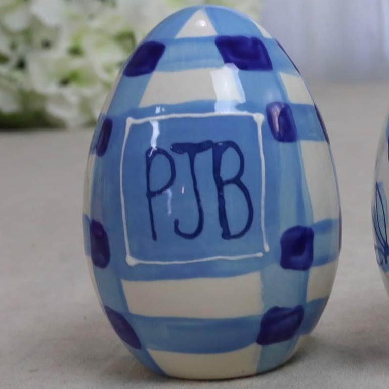 Monogrammed Blue Gingham Egg