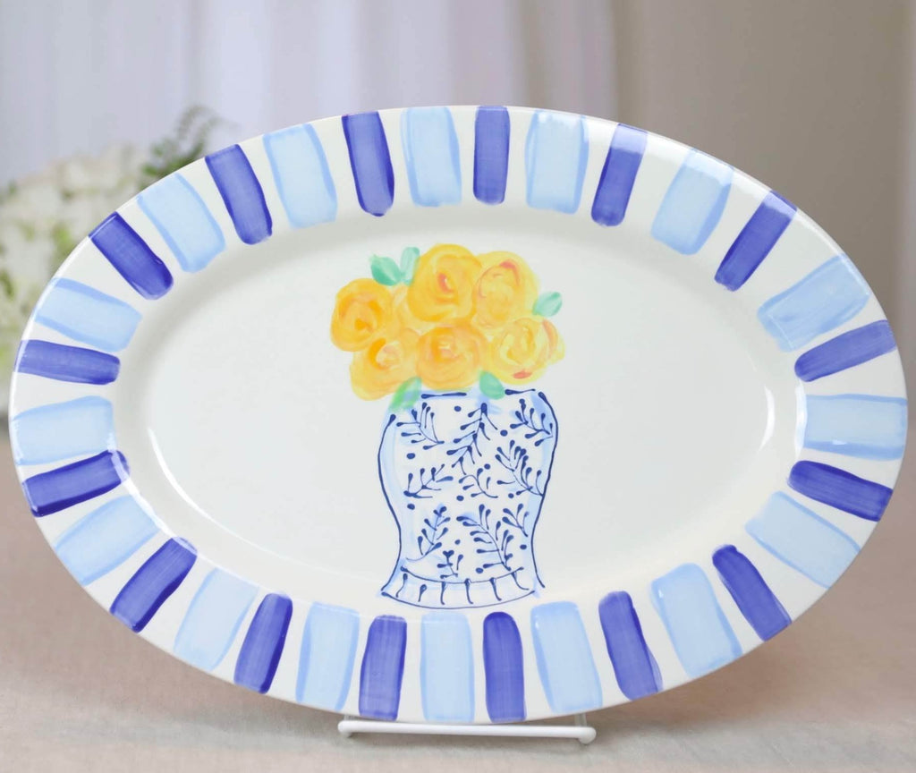 Oval Rim Platter Yellow Flowers