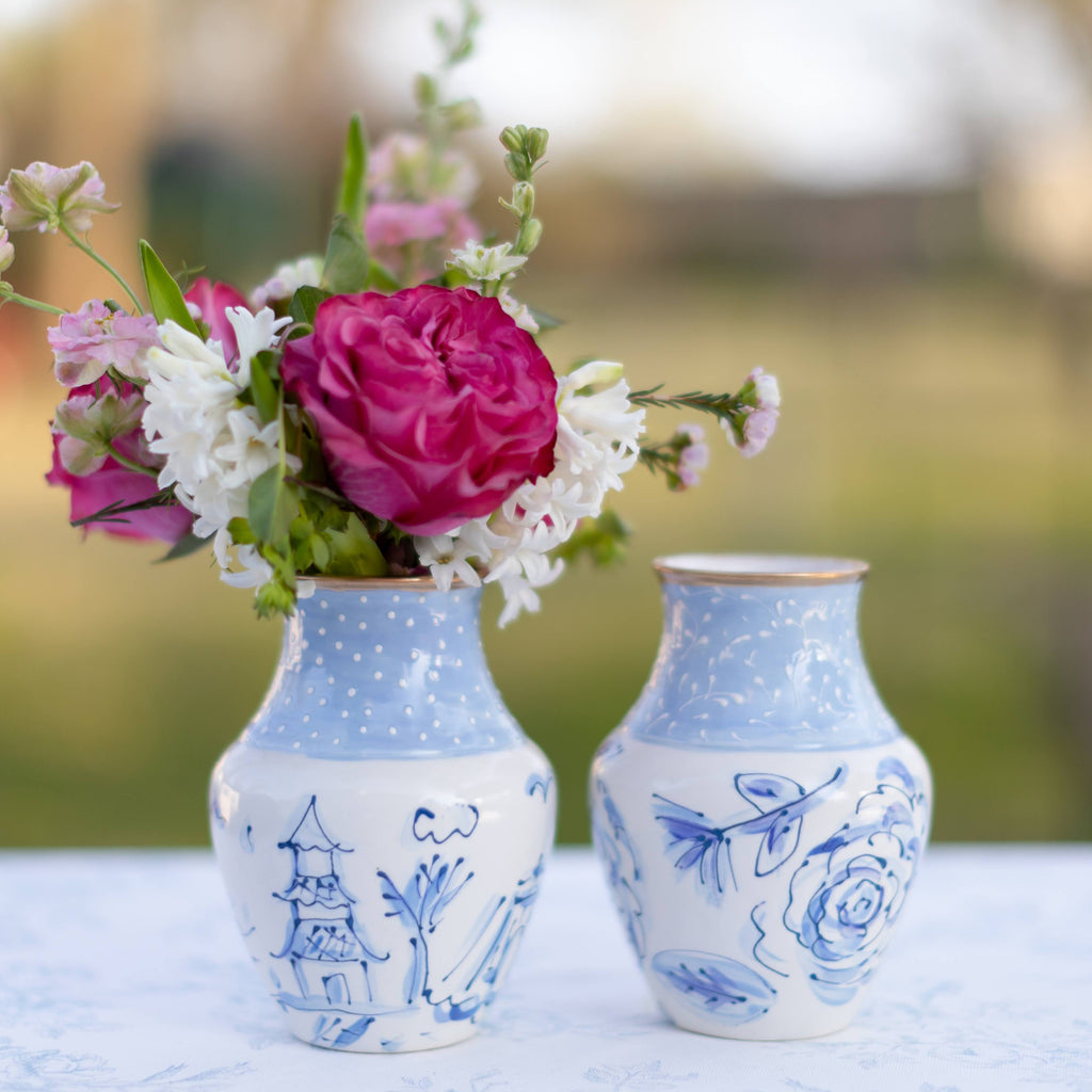 Blue Floral Chinoiserie Floral Vase