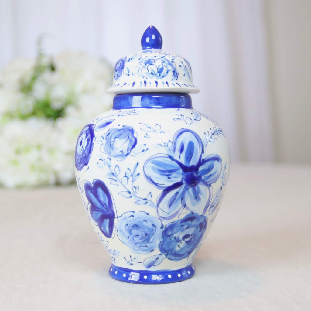 "8"" Phoebe Dark Floral Ginger Jar"