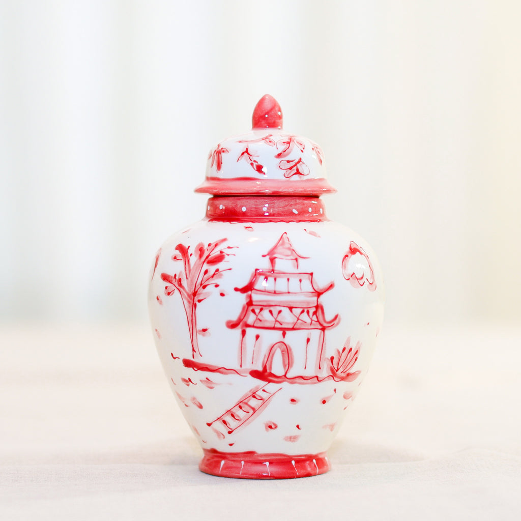 "8"" Phoebe Red Pagoda Ginger Jar"