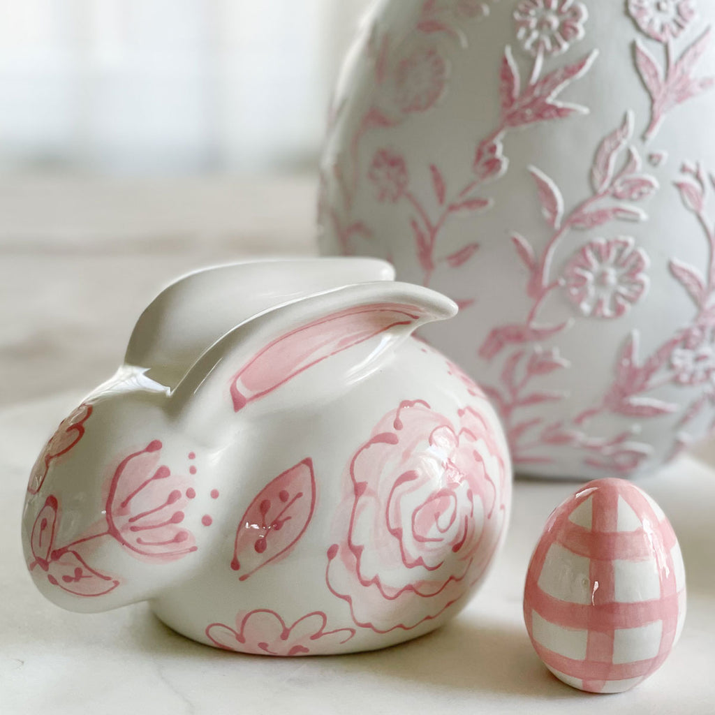 "6"" Pink Floral Hand Painted Ceramic Bunny Statue"