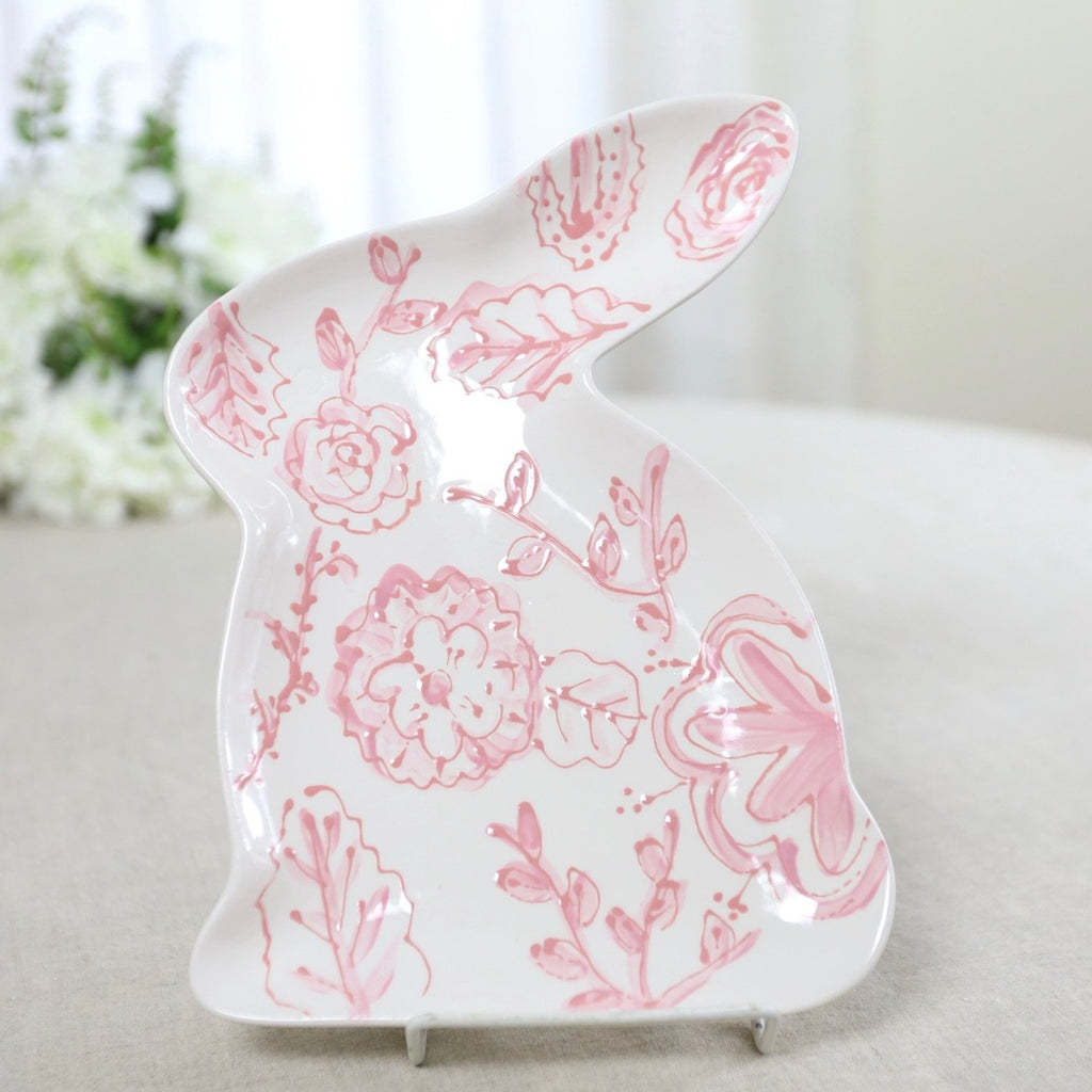 Pink Floral Chinoiserie Bunny Shaped Easter Dish