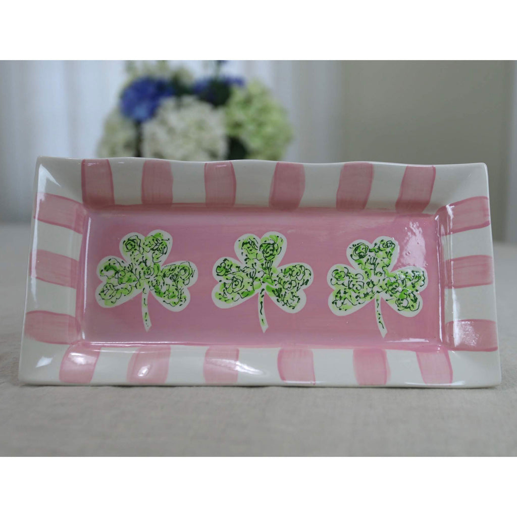 Pink and Green Shamrock Platter