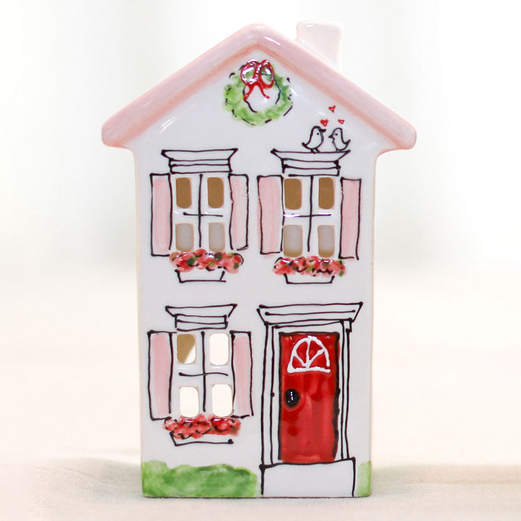Short Pink House With A Red Door Village Lantern