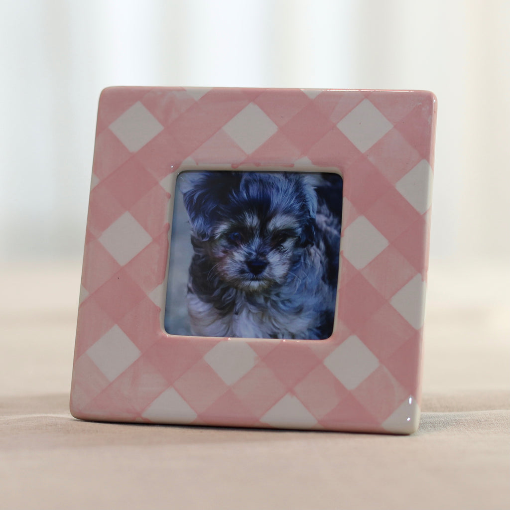 Pink Gingham Picture Frame