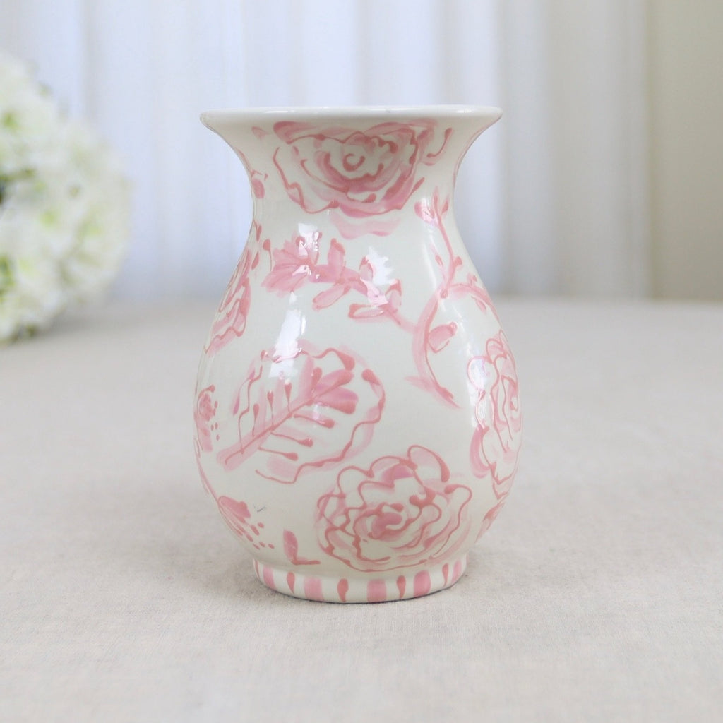Pink and White Floral and Leaf Pattern Vase