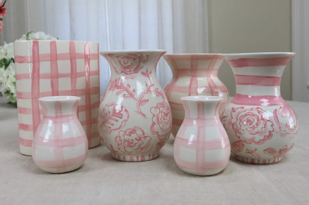 Pink Gingham Ceramic Flower Vase