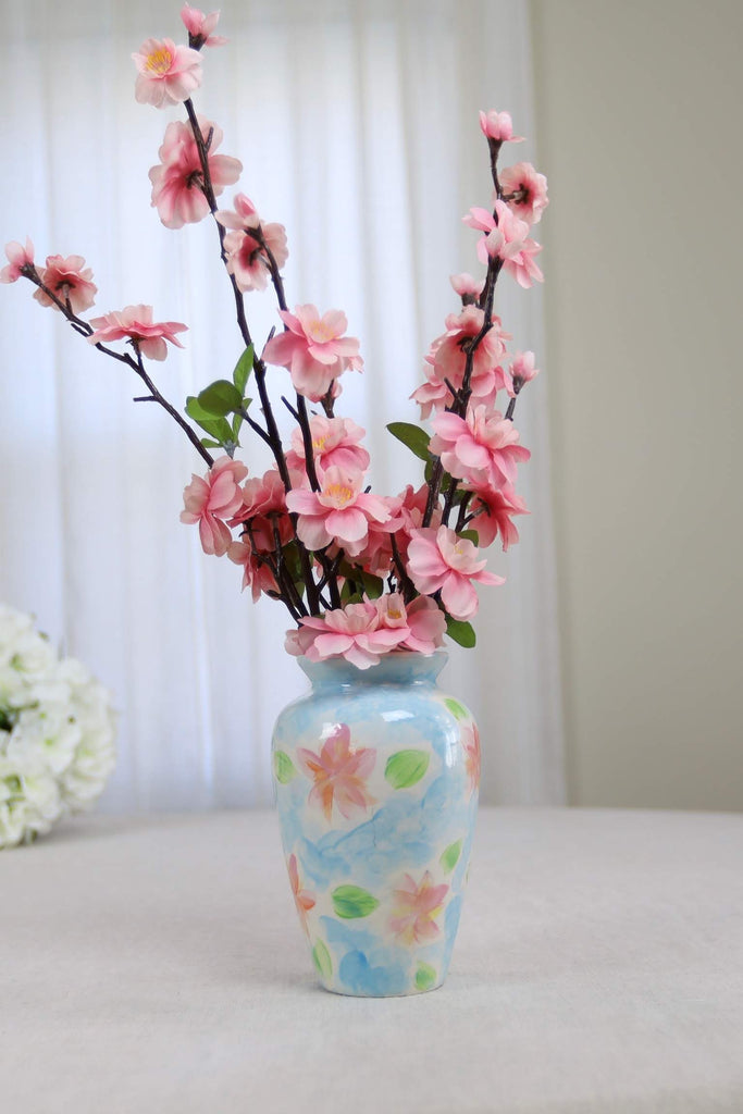 Pink and Blue Floral Vase with Flowers