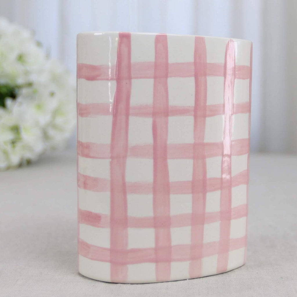 Pink and White Gingham Ceramic Flower Vase