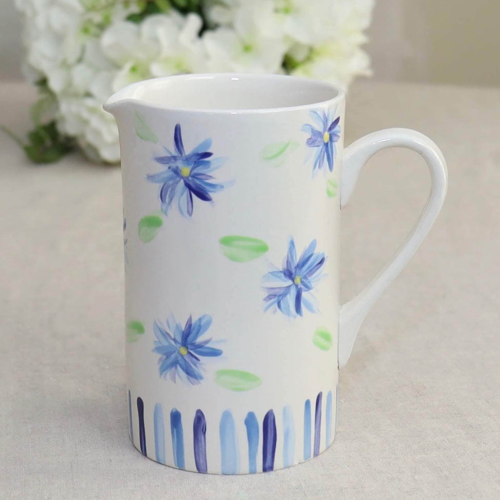 Pitcher Blue Green Floral