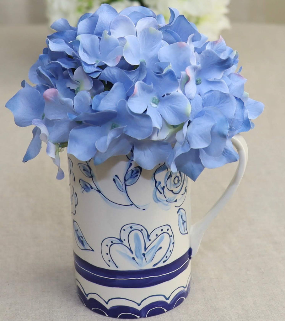 Pitcher Blue White Floral Blue Elements