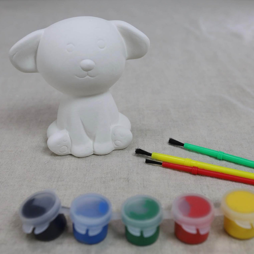 Adorable puppy pottery to go paint kit including paints and brushes