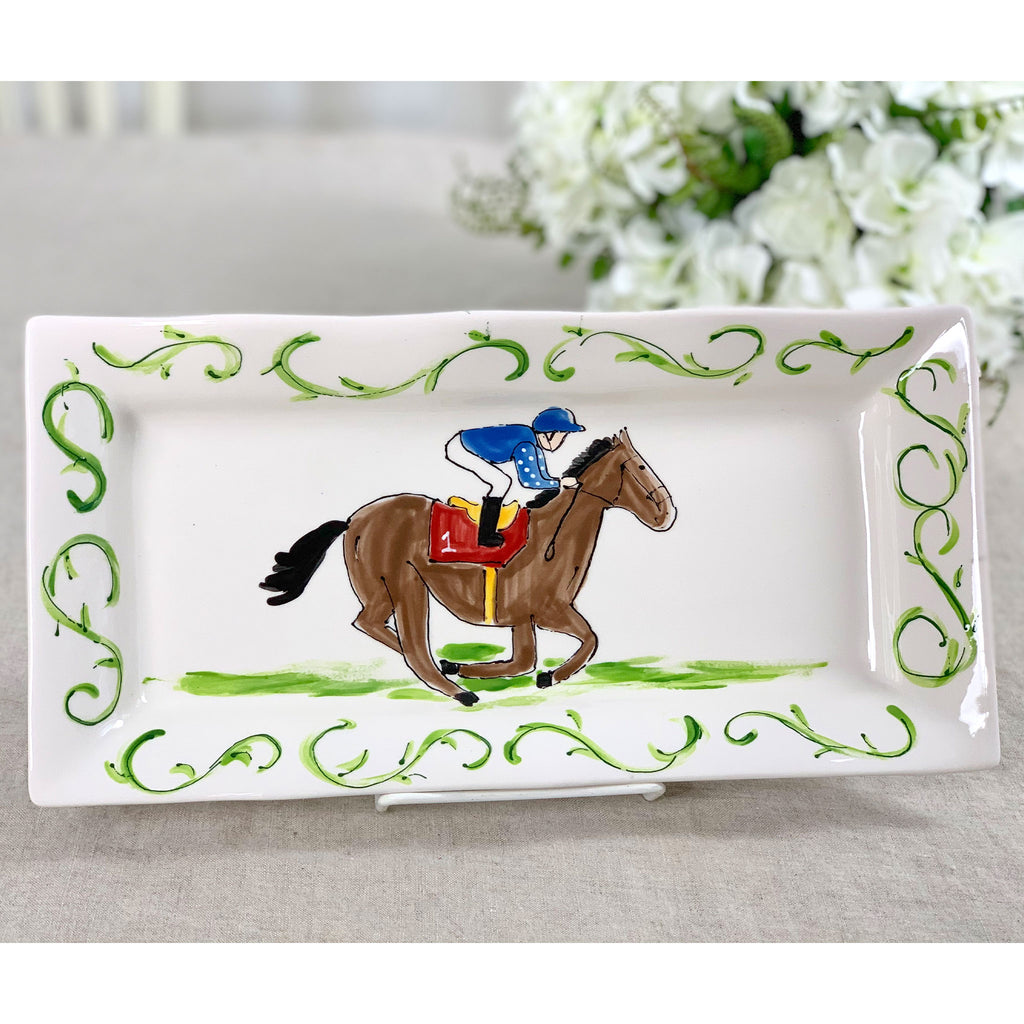 Racehorse And Jockey Kentucky Derby Platter