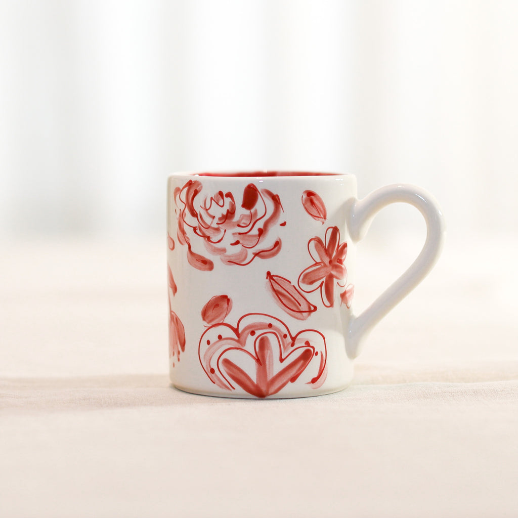 Red and White Floral Pattern Mug
