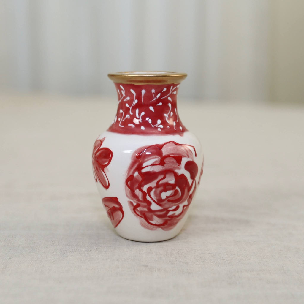 Red and White Flower Pattern Vase