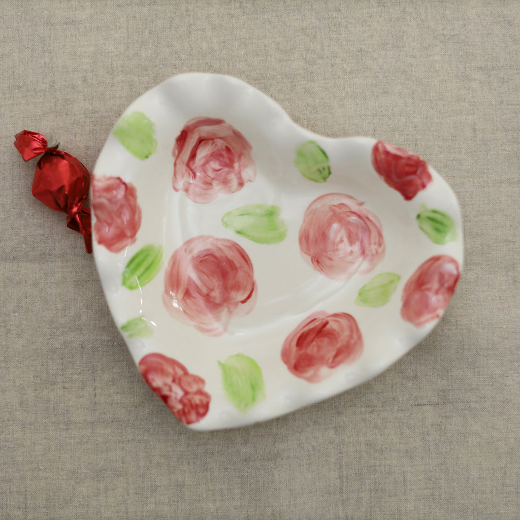 Rose Pattern Heart Dish