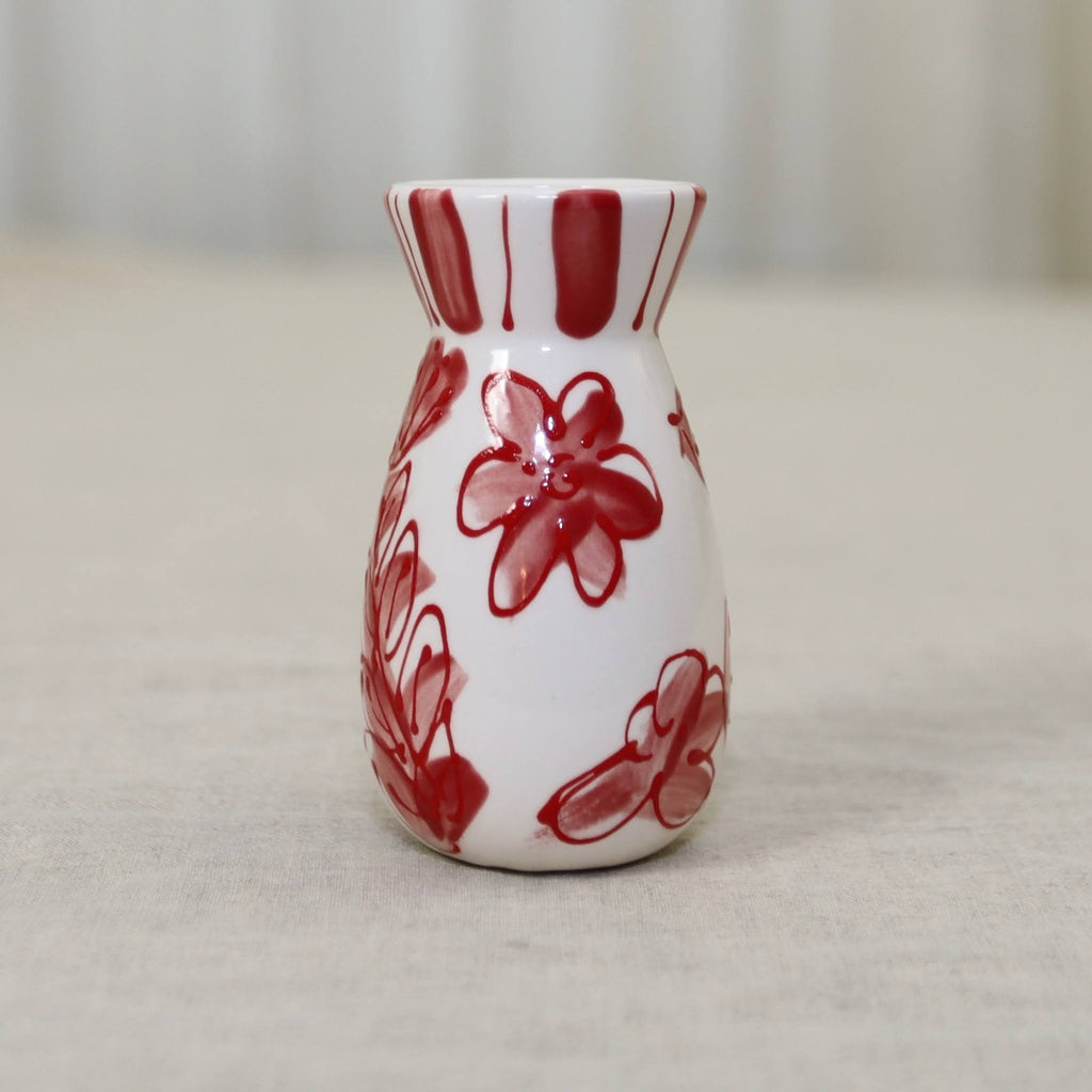 Red and White Modern Flower Pattern Vase