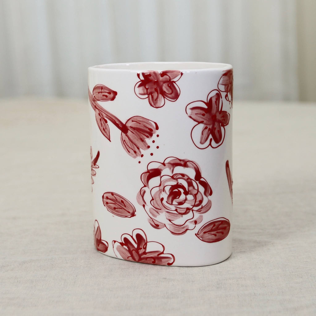 Red and White Oval Floral Pattern Ceramic Flower Vase