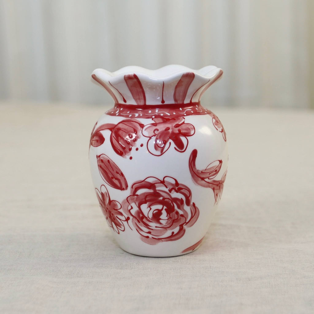 Red and White Floral Ruffle Vase