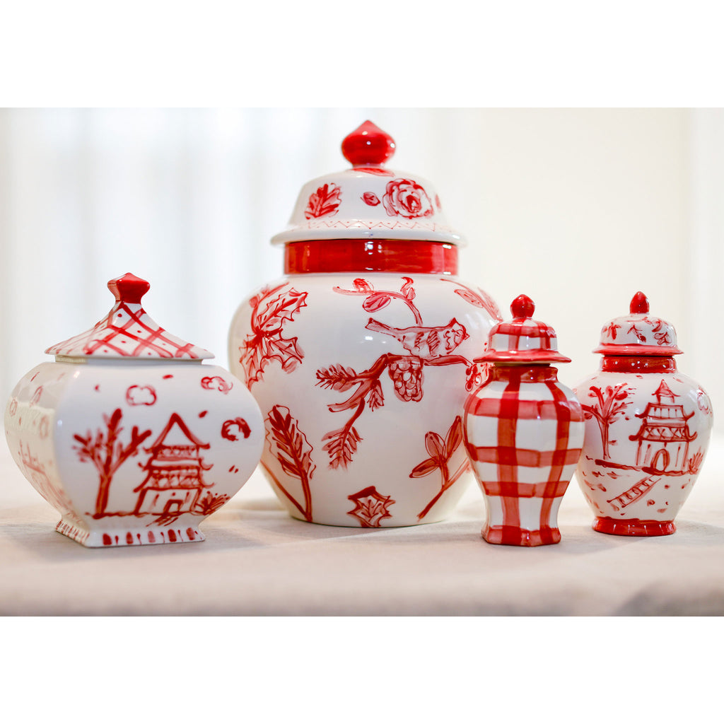 Red and White Emma Ginger Jar
