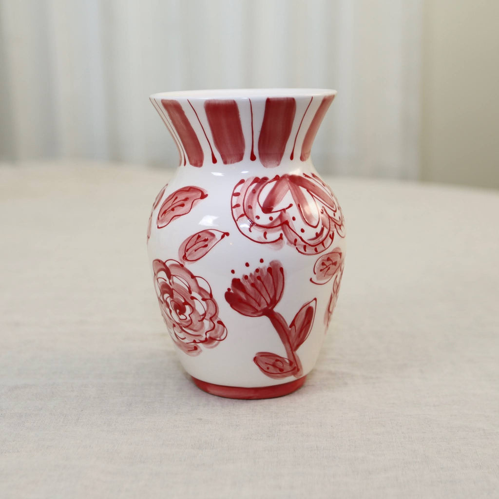 Red and White Floral Pattern Ceramic Vase