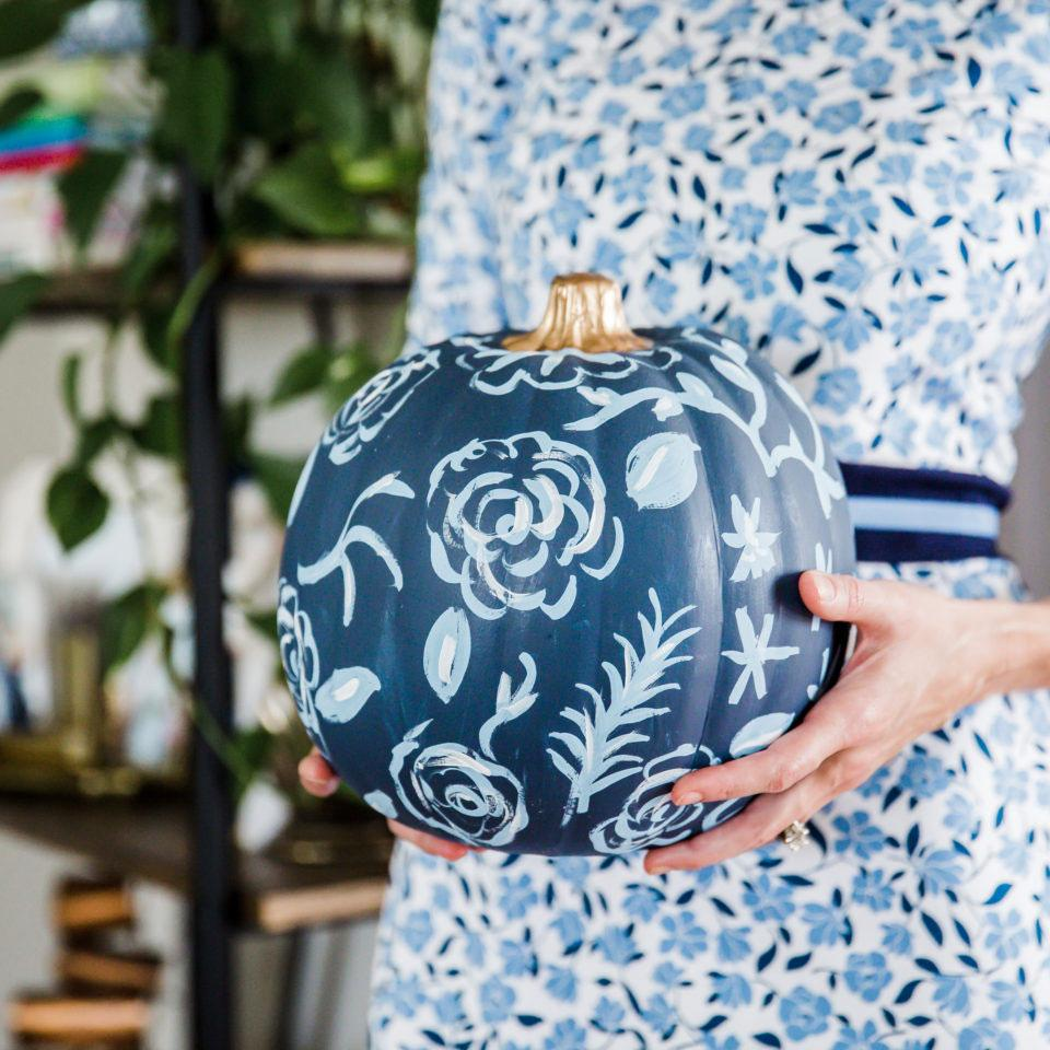 Sarah Tucker Collection - Dark Blue Floral Pumpkin - Photos by Rina Kay