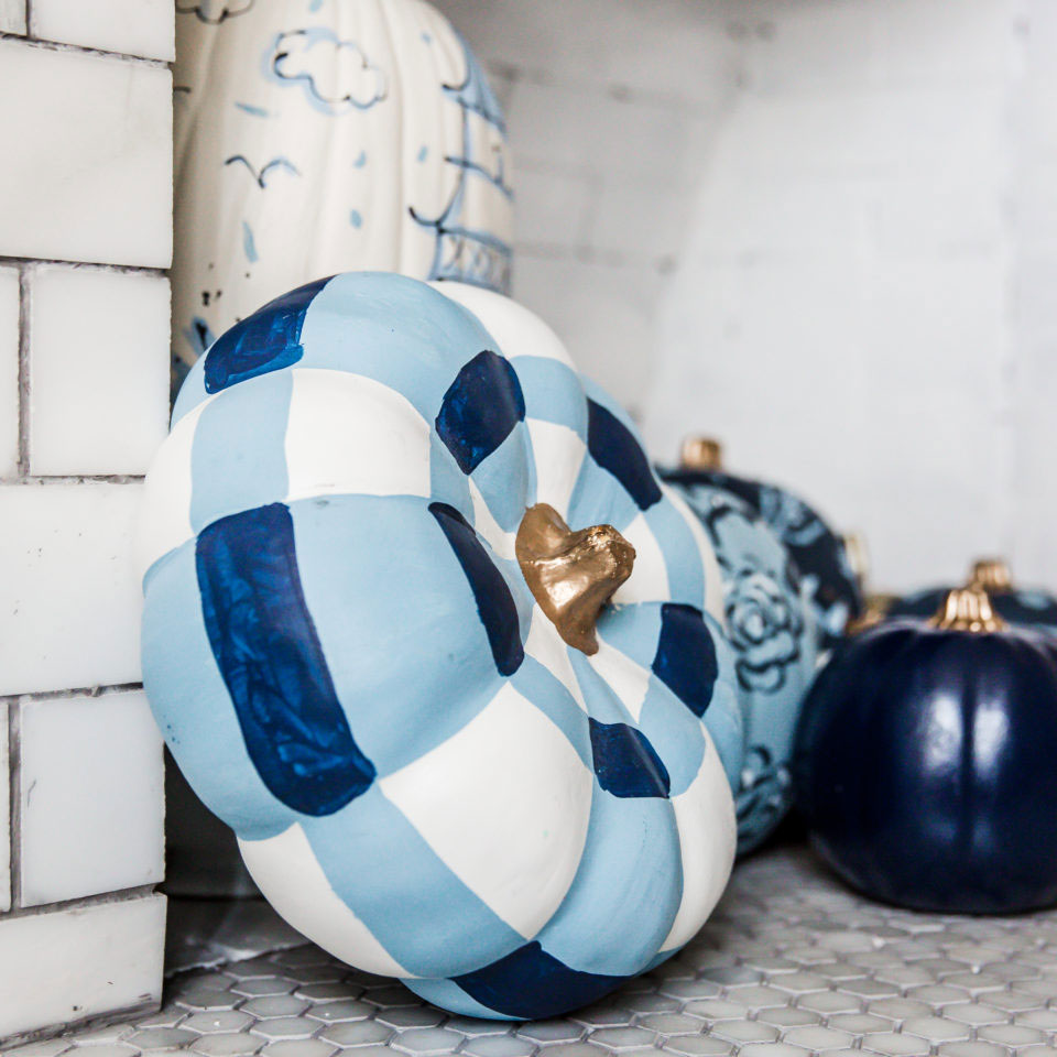 Sarah Tucker Collection - Princess Buffalo Check Faux Handpainted Pumpkin - Photos by Rina Kay