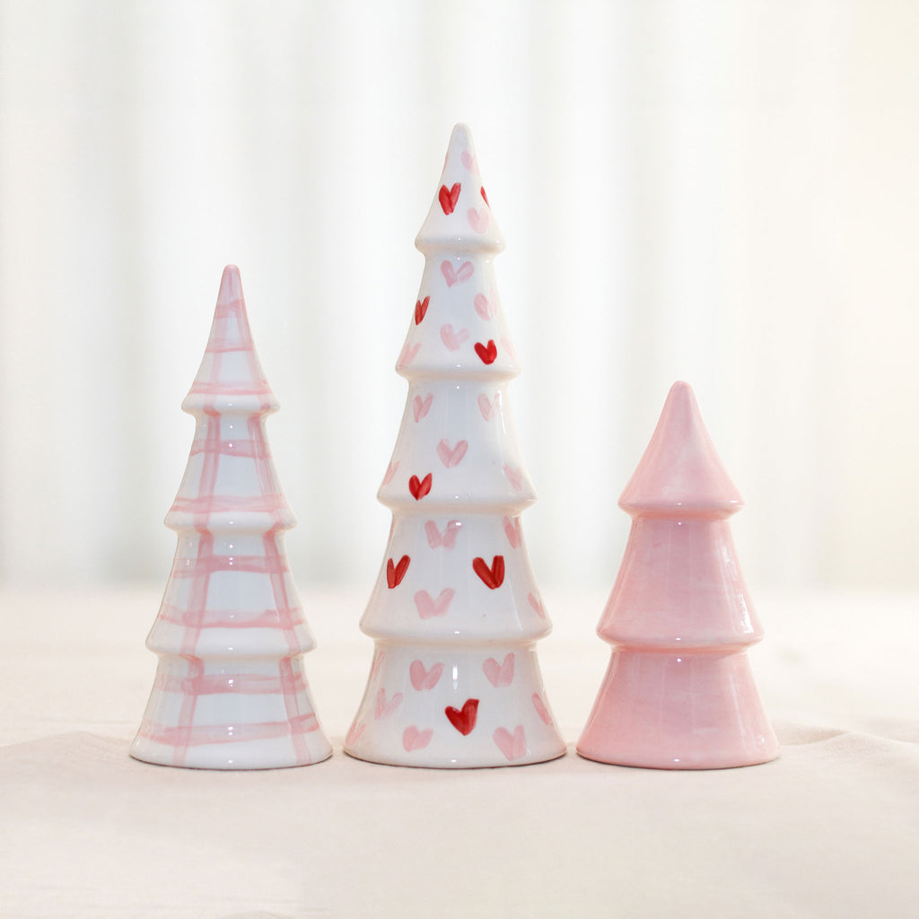 Set of 3 Valentine Gingham and Heart Trees
