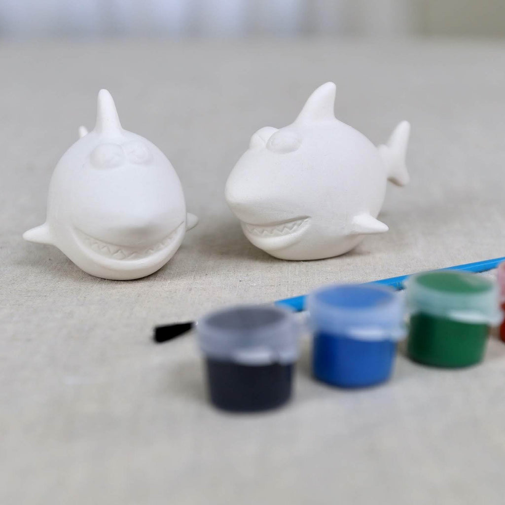 Pair of Sharks Pottery Paint Kit With Paints or Markers