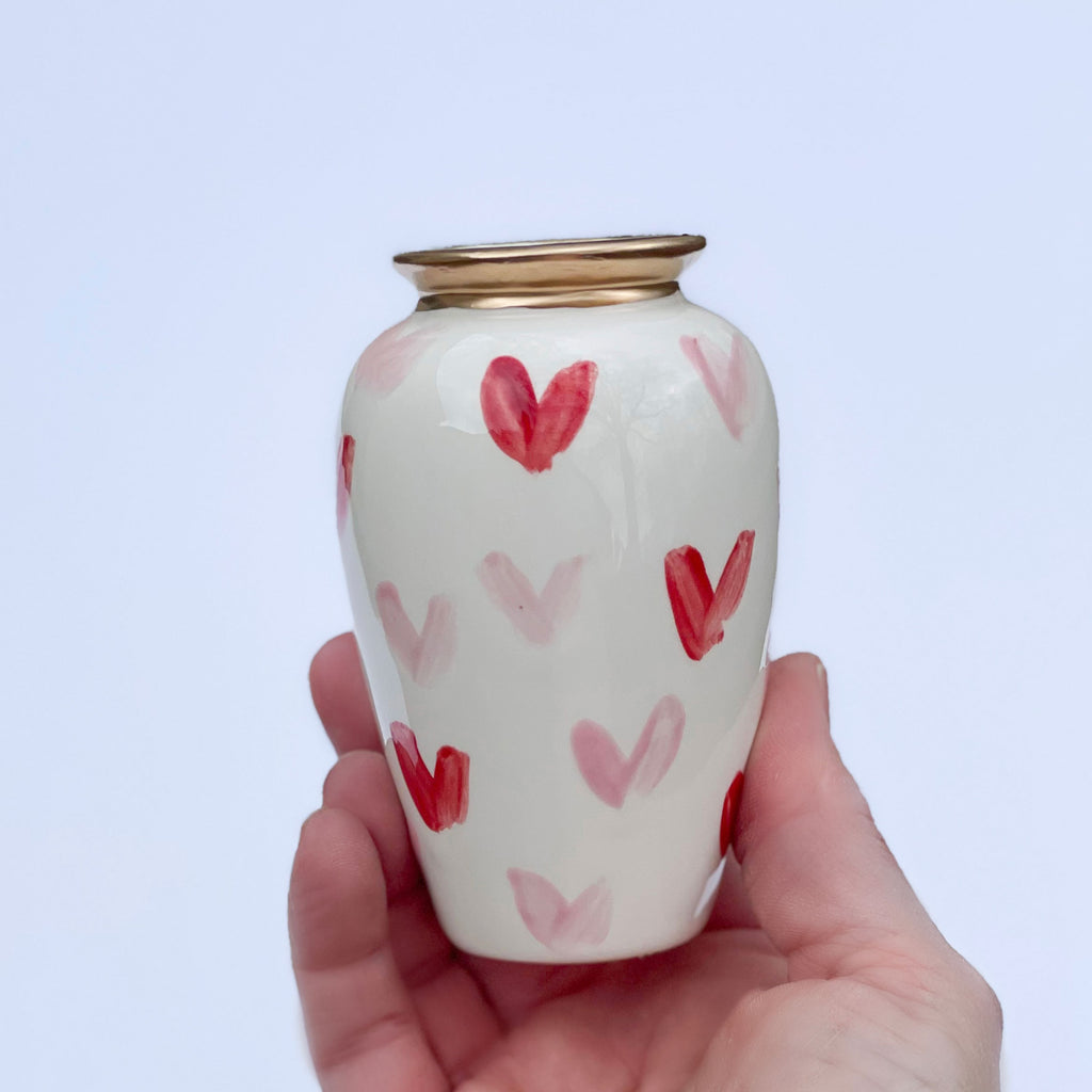 Pink and Red Heart Pattern Ceramic Vase