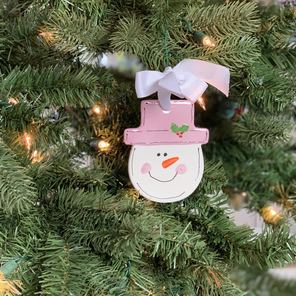 Snowman Ornament with Pink Hat