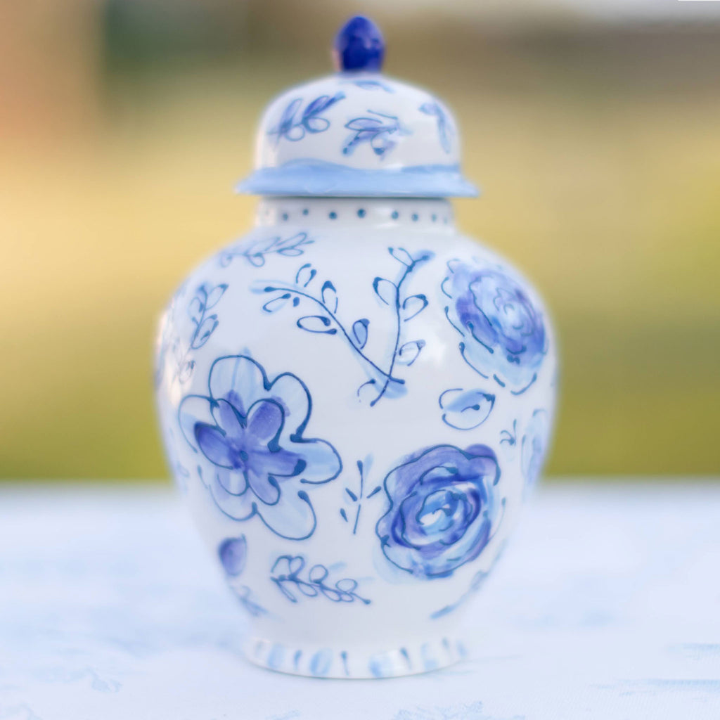 "8"" Sophie Blue and White Floral Ginger Jar"
