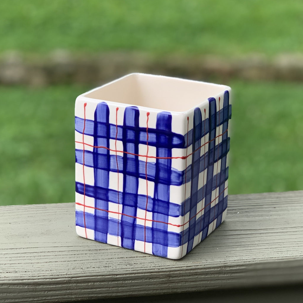 Square Plaid Vase 4inches