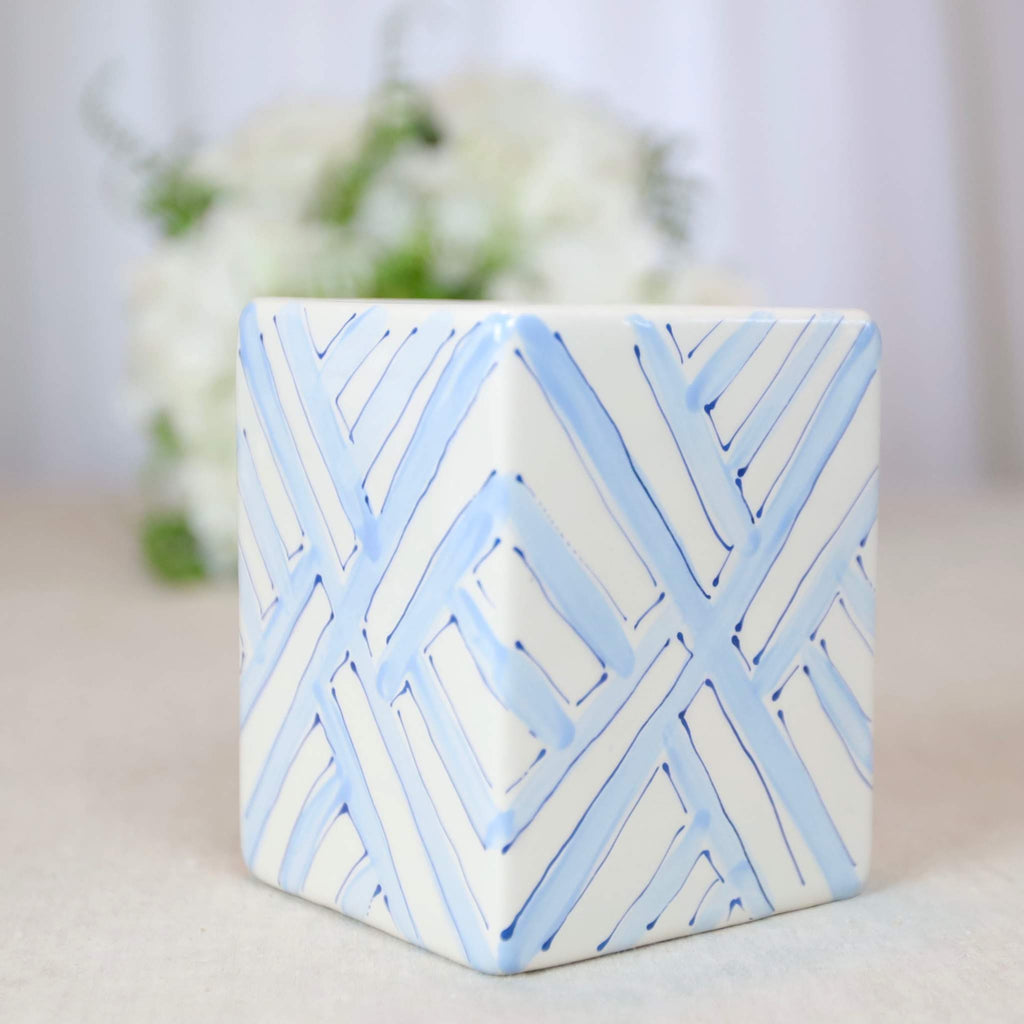 Blue Trellis Square Ceramic Vase