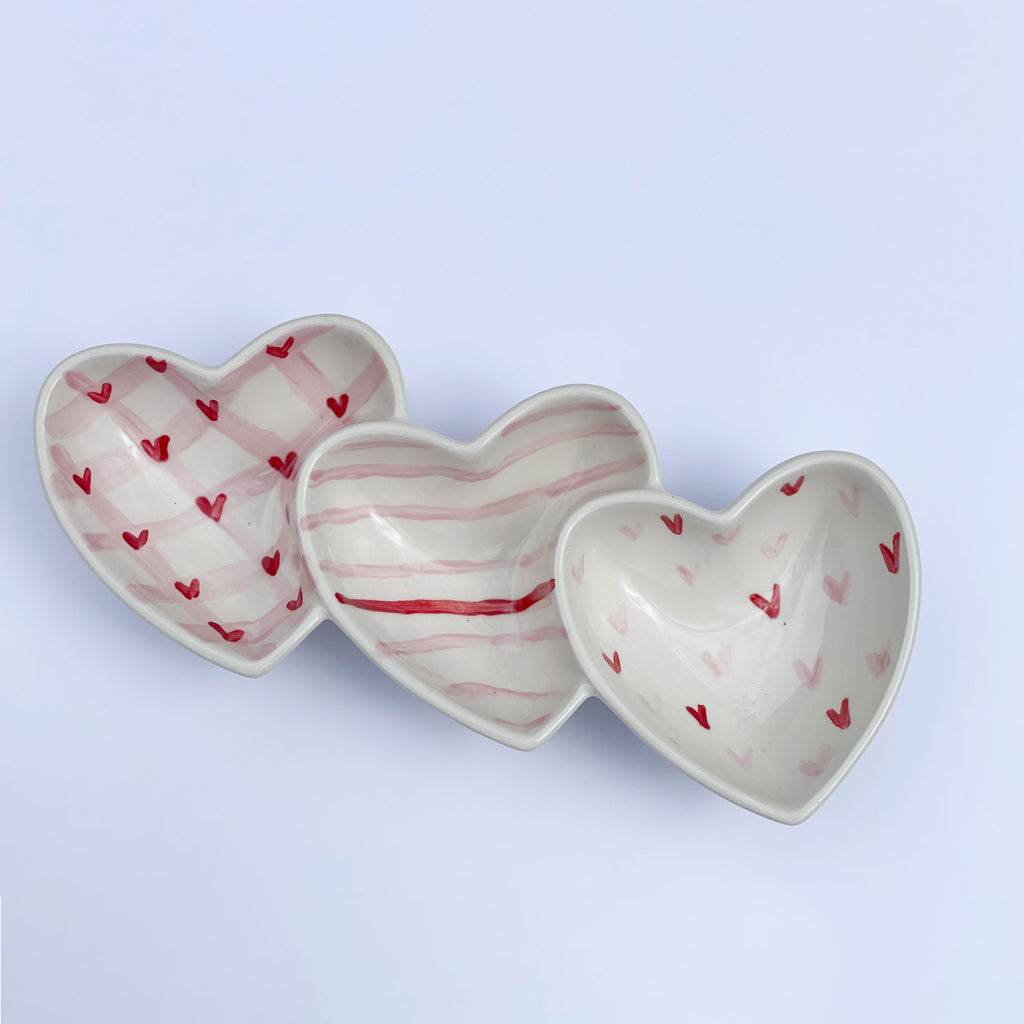 Pink and Red Triple Heart Dish