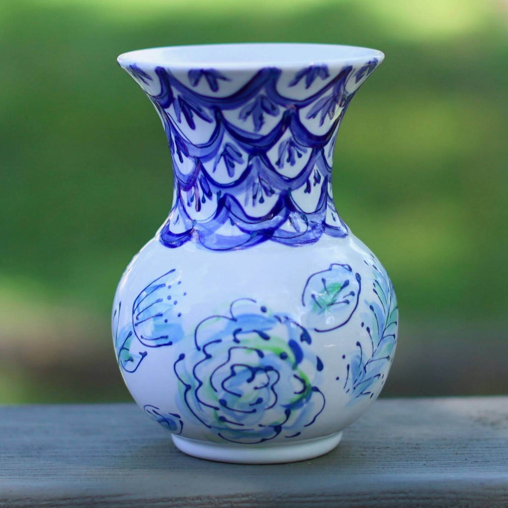 Blue and White Scallop and Floral Pattern Vase