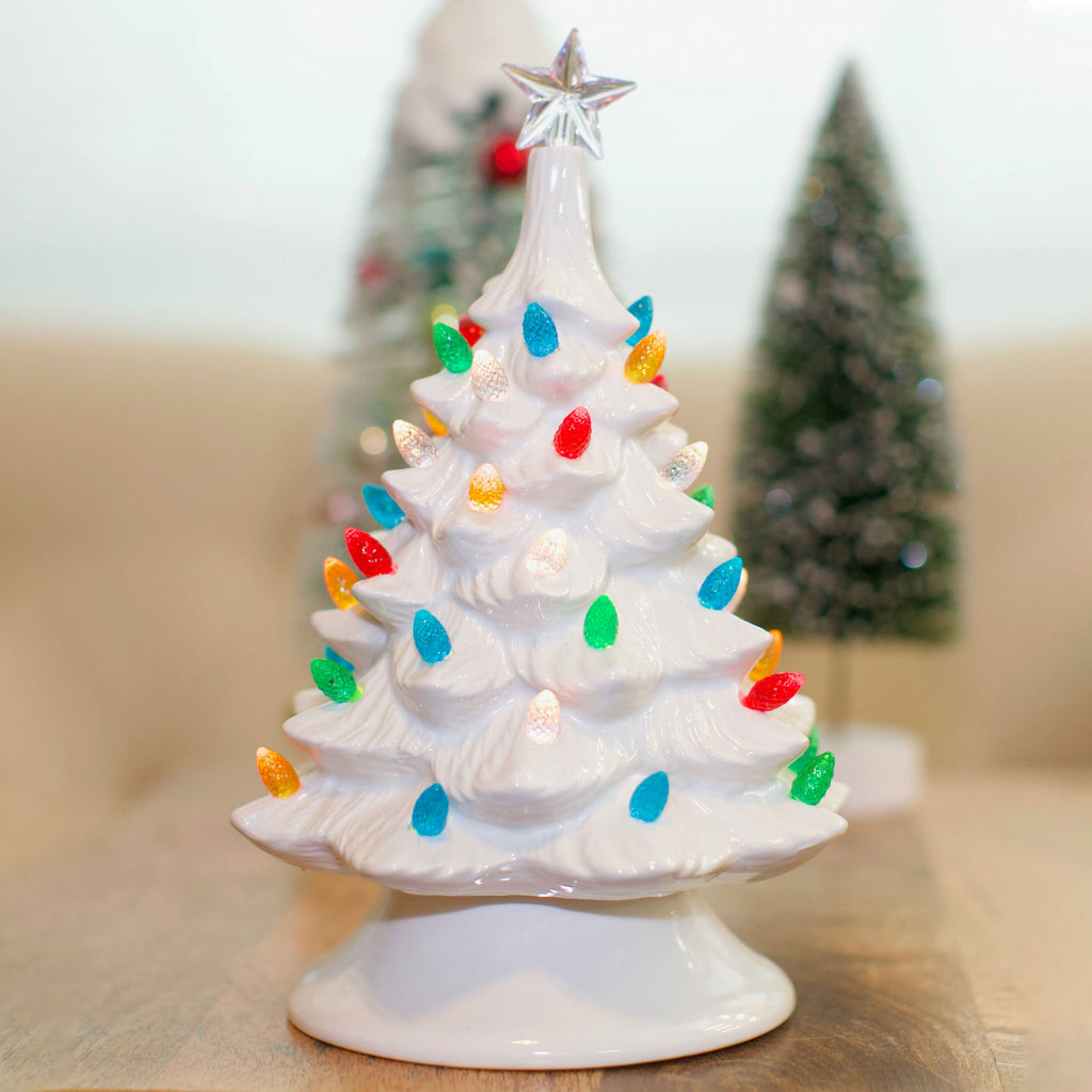 "9"" Vintage Style White Ceramic Christmas Tree"