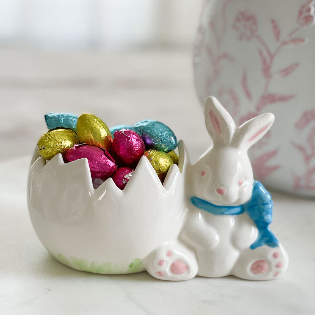 Aqua Ribbon Vintage Mold Bunny With Egg Vase