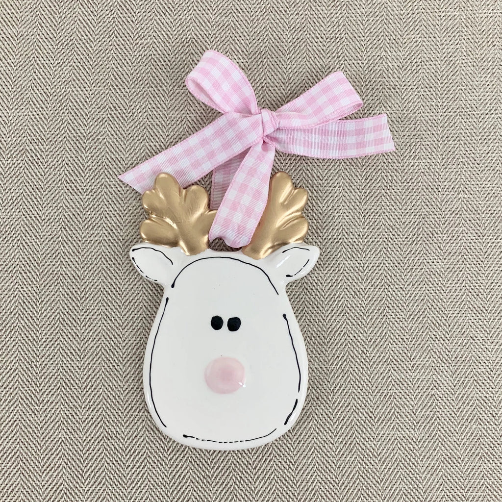 Gold and White Reindeer Christmas Ornament