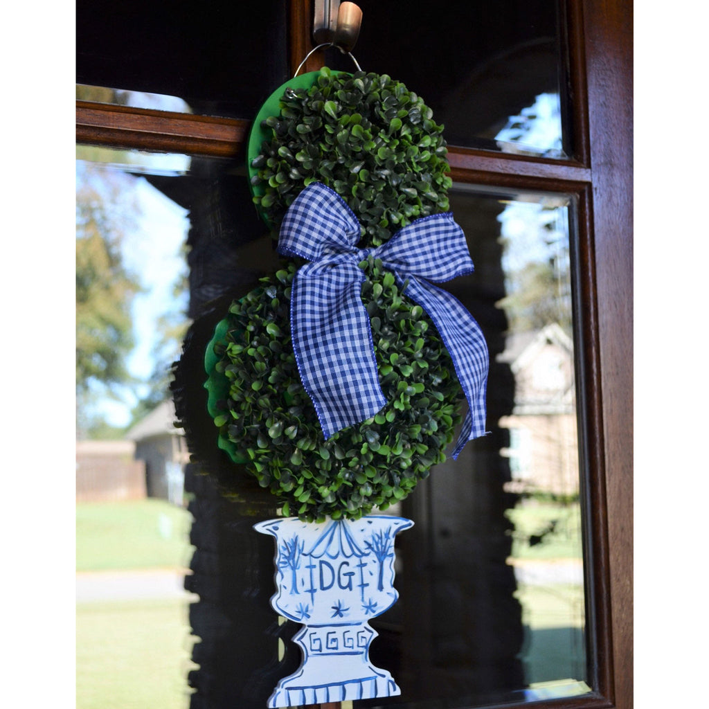 Chinoiserie Boxwood Topiary Door Hanger