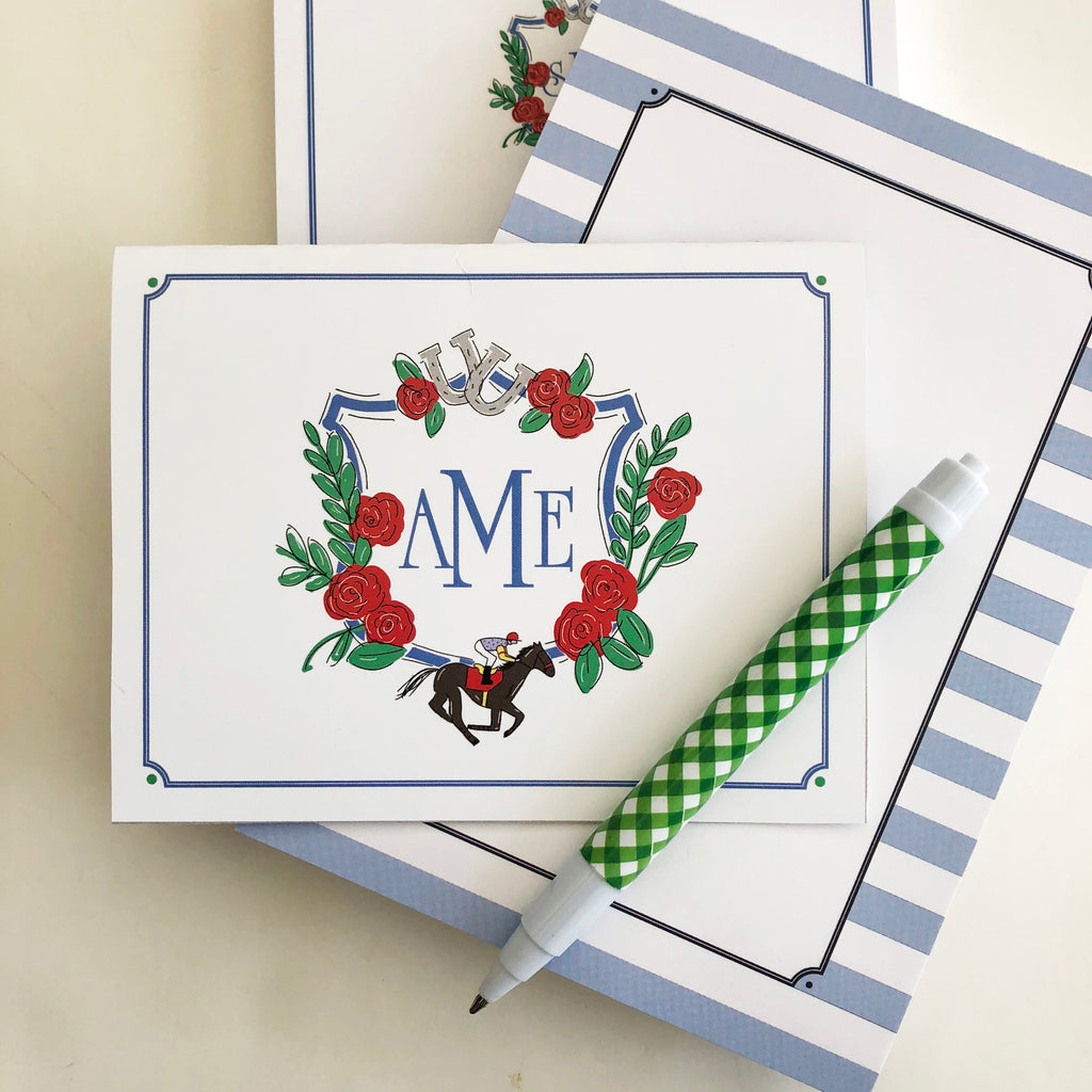 Derby Crest Personalized Folded Notecards