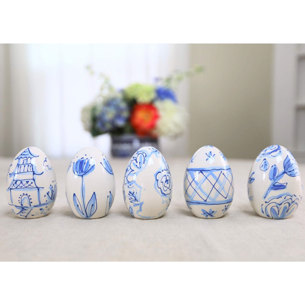 Blue and White Modern Chinoiserie Patterned Ceramic Eggs
