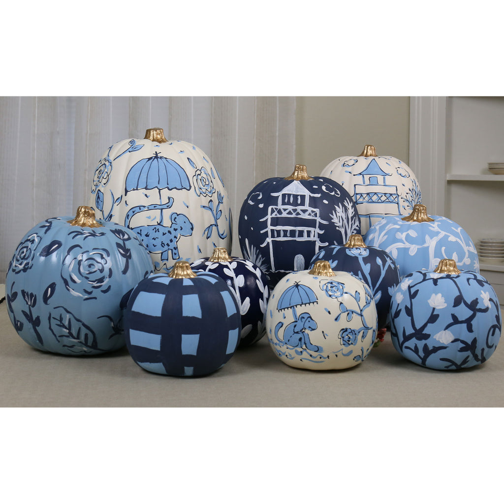 Faux painted chinoiserie pumpkins
