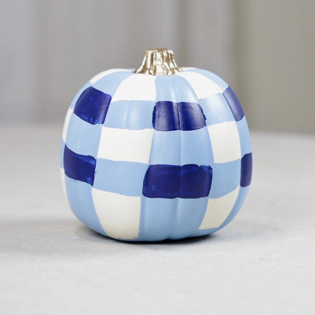 Small Blue and White Chinoiserie Faux Hand Painted Pumpkin